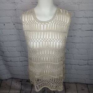 Charlie Paige NWT ivory crocheted blouse Sz L